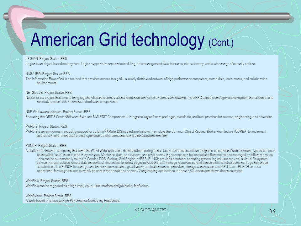 6/2/04 RW@MITRE 35 American Grid technology (Cont.) LEGION.