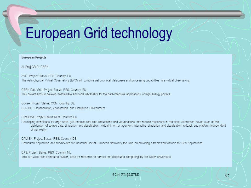 6/2/04 RW@MITRE 37 European Grid technology European Projects ALiEn@GRID, CERN.