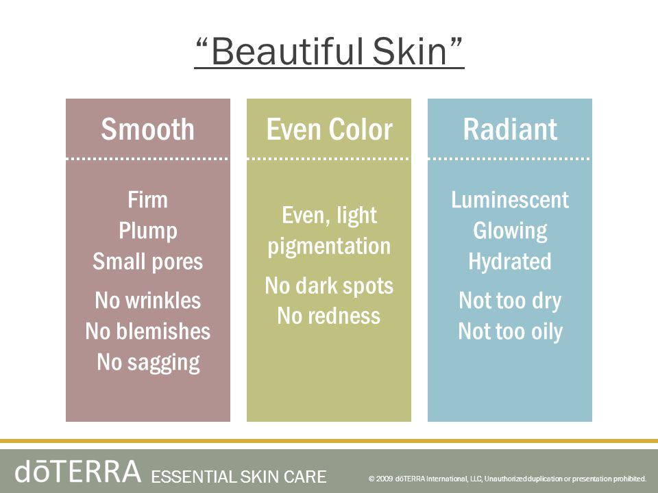Beautiful Skin © 2009 dōTERRA International, LLC, Unauthorized duplication or presentation prohibited.