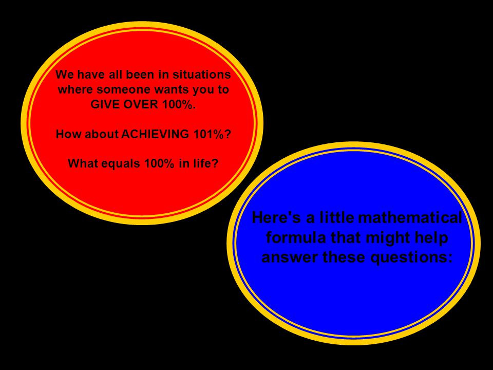 We have all been in situations where someone wants you to GIVE OVER 100%.