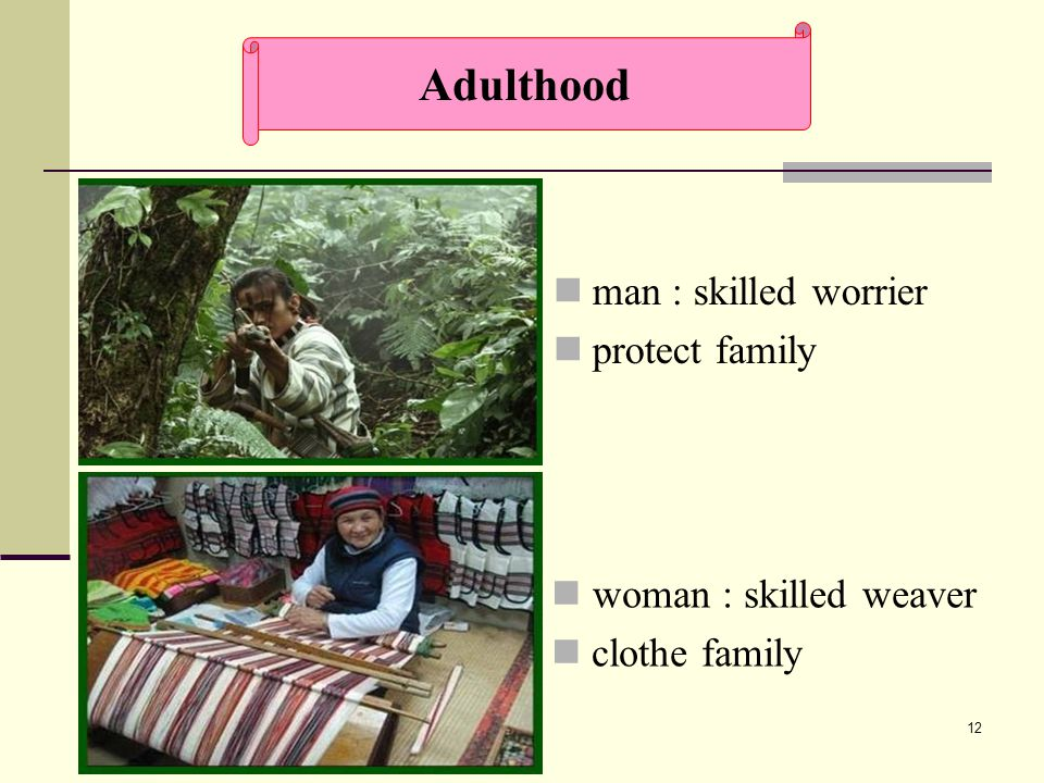 12 man : skilled worrier protect family woman : skilled weaver clothe family Adulthood
