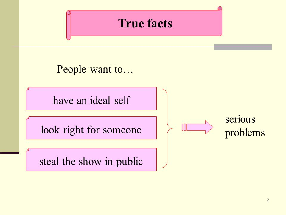 2 True facts People want to… have an ideal self steal the show in public look right for someone serious problems