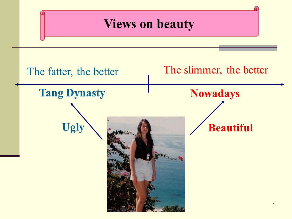 9 Nowadays Tang Dynasty The slimmer, the better The fatter, the better Beautiful Ugly Views on beauty