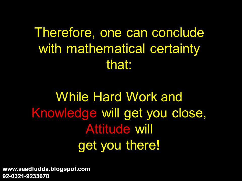 But A-T-T-I-T-U-D-E 1+20+20+9+20+21+4+5 = 100% www.saadfudda.blogspot.com 92-0321-9233670