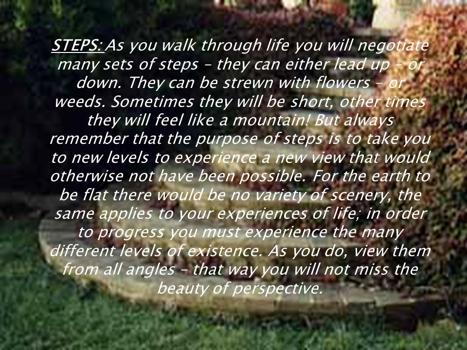STEPS: As you walk through life you will negotiate many sets of steps – they can either lead up – or down.