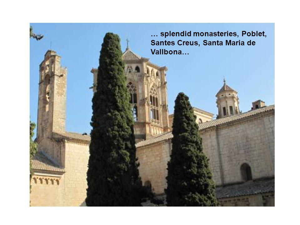 … splendid monasteries, Poblet, Santes Creus, Santa Maria de Vallbona…