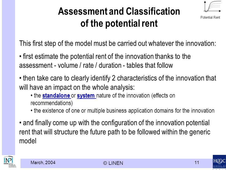 March, 2004 © LINEN 11 Assessment and Classification of the potential rent This first step of the model must be carried out whatever the innovation: first estimate the potential rent of the innovation thanks to the assessment - volume / rate / duration - tables that follow then take care to clearly identify 2 characteristics of the innovation that will have an impact on the whole analysis: standalonesystem the standalone or system nature of the innovation (effects on recommendations)standalonesystemstandalone system the existence of one or multiple business application domains for the innovation and finally come up with the configuration of the innovation potential rent that will structure the future path to be followed within the generic model Potential Rent