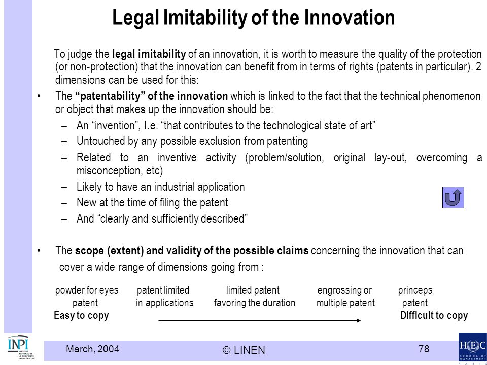 March, 2004 © LINEN 78 Legal Imitability of the Innovation To judge the legal imitability of an innovation, it is worth to measure the quality of the