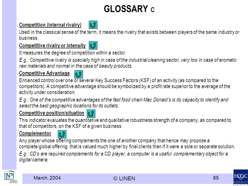 March, 2004 © LINEN 85 GLOSSARY C Competition (internal rivalry) Used in the classical sense of the term, it means the rivalry that exists between pla