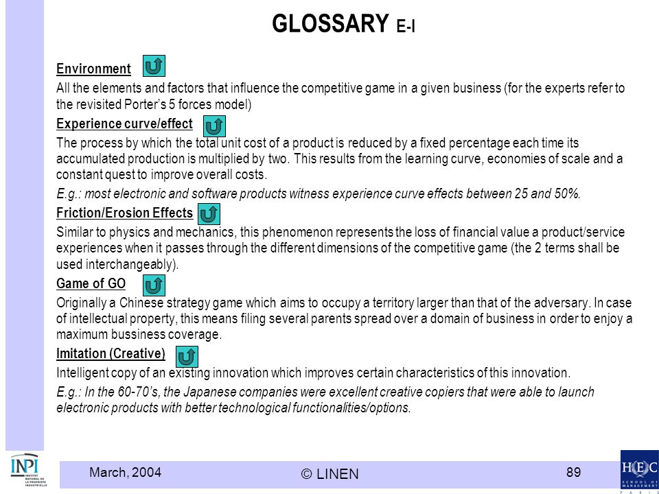 March, 2004 © LINEN 89 GLOSSARY E-I Environment All the elements and factors that influence the competitive game in a given business (for the experts refer to the revisited Porters 5 forces model) Experience curve/effect The process by which the total unit cost of a product is reduced by a fixed percentage each time its accumulated production is multiplied by two.