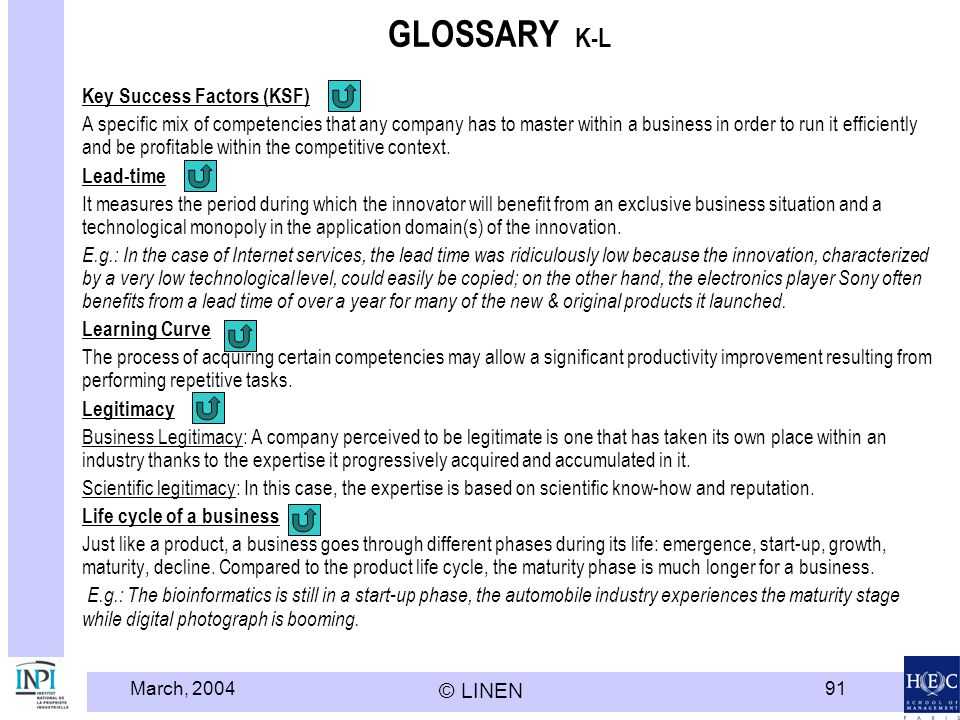 March, 2004 © LINEN 91 GLOSSARY K-L Key Success Factors (KSF) A specific mix of competencies that any company has to master within a business in order to run it efficiently and be profitable within the competitive context.