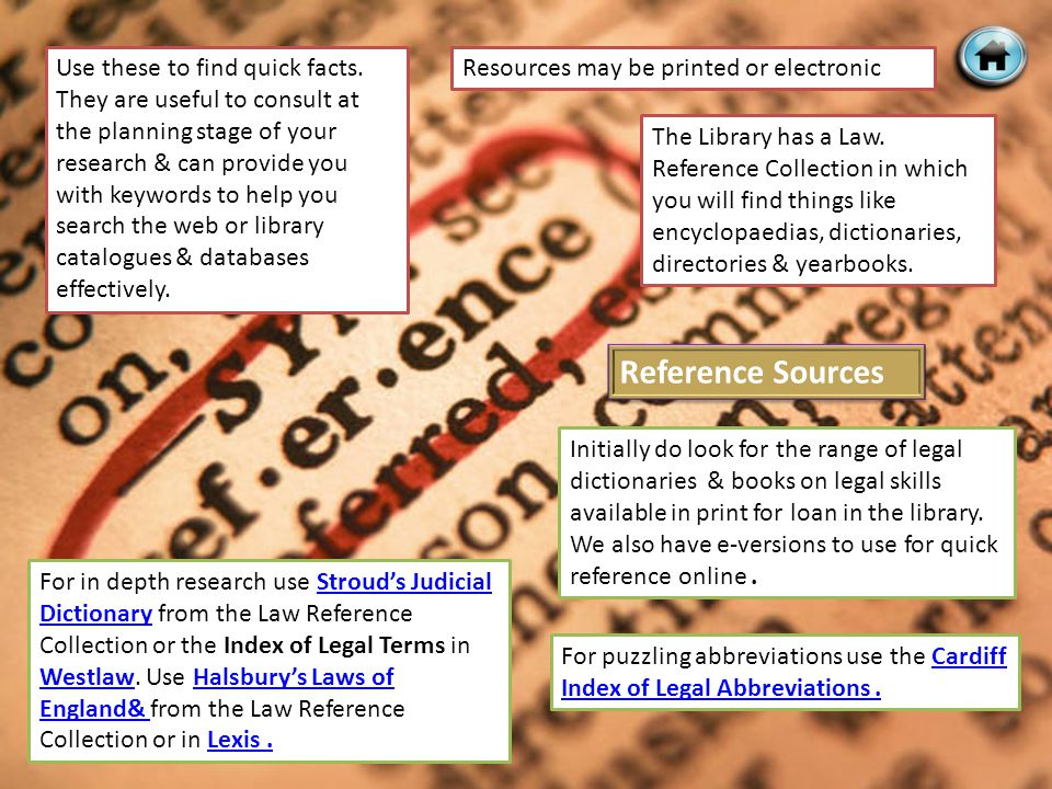 Reference Sources Use these to find quick facts.