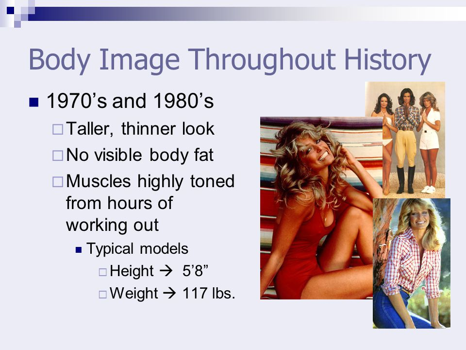 Body Image Throughout History 1970s and 1980s Taller, thinner look No visible body fat Muscles highly toned from hours of working out Typical models Height 58 Weight 117 lbs.