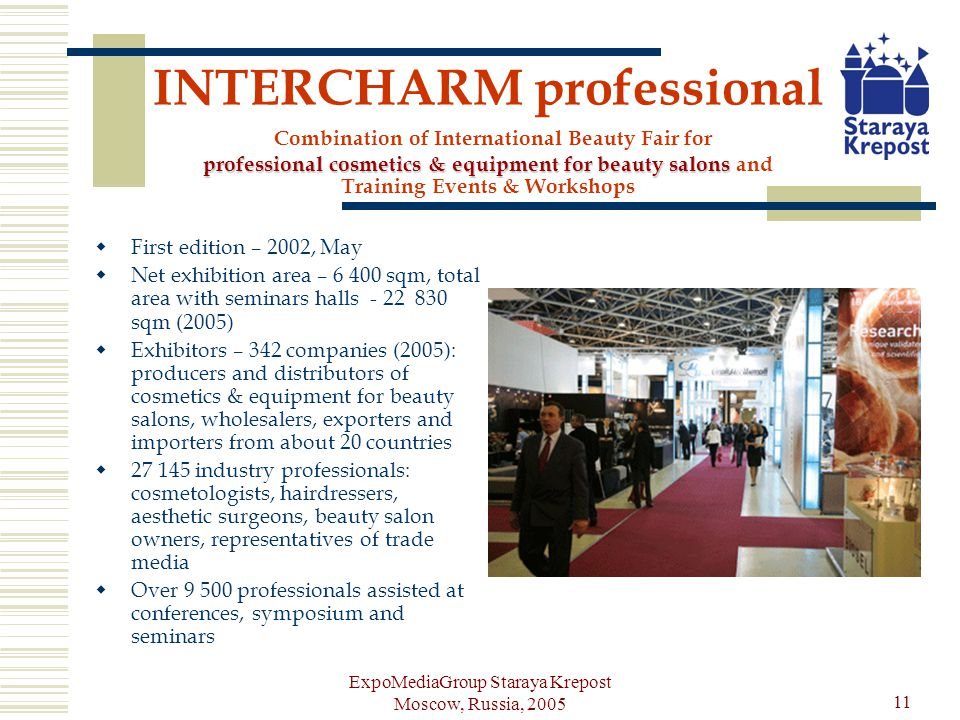 ExpoMediaGroup Staraya Krepost Moscow, Russia, 2005 11 professional cosmetics & equipment for beauty salons INTERCHARM professional Combination of International Beauty Fair for professional cosmetics & equipment for beauty salons and Training Events & Workshops First edition – 2002, May Net exhibition area – 6 400 sqm, total area with seminars halls - 22 830 sqm (2005) Exhibitors – 342 companies (2005): producers and distributors of cosmetics & equipment for beauty salons, wholesalers, exporters and importers from about 20 countries 27 145 industry professionals: cosmetologists, hairdressers, aesthetic surgeons, beauty salon owners, representatives of trade media Over 9 500 professionals assisted at conferences, symposium and seminars