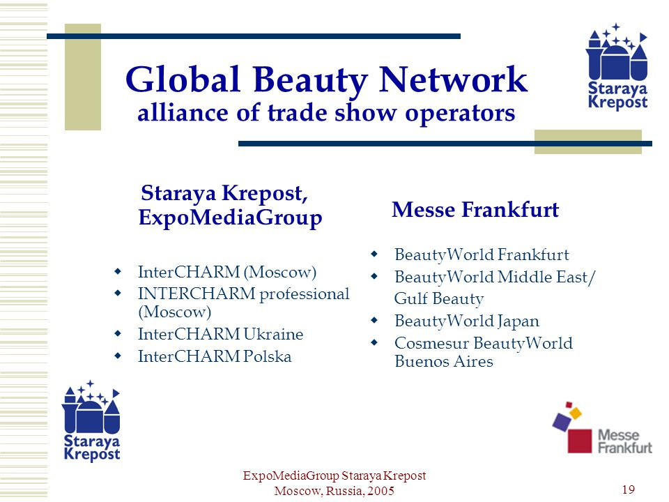 ExpoMediaGroup Staraya Krepost Moscow, Russia, 2005 19 Global Beauty Network alliance of trade show operators Staraya Krepost, ExpoMediaGroup InterCHARM (Moscow) INTERCHARM professional (Moscow) InterCHARM Ukraine InterCHARM Polska Messe Frankfurt BeautyWorld Frankfurt BeautyWorld Middle East/ Gulf Beauty BeautyWorld Japan Cosmesur BeautyWorld Buenos Aires
