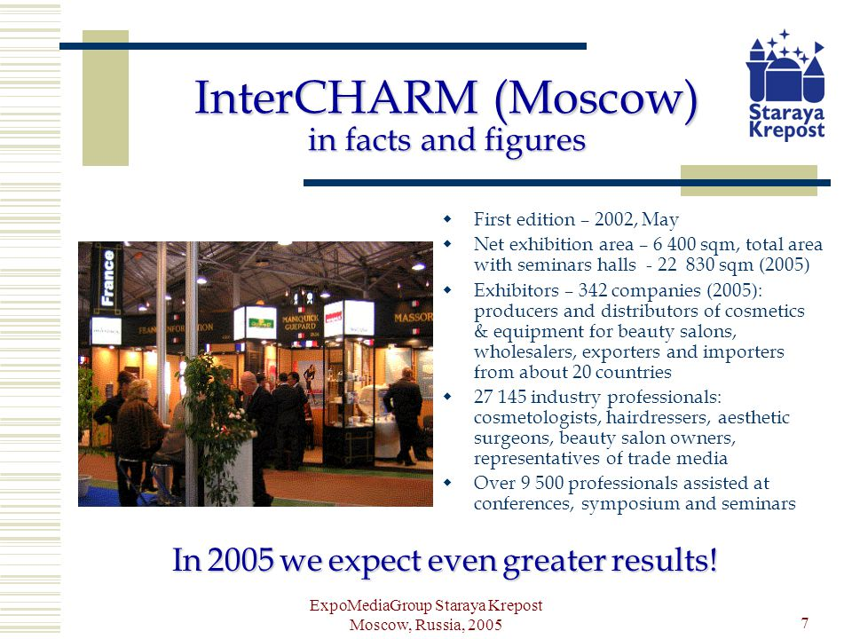 ExpoMediaGroup Staraya Krepost Moscow, Russia, 2005 8 The benefits of participation are evident: Presenting yourself in the booming Russian market for perfumery & cosmetics Real opportunity for a brand owner to find a distributor, manufacturers to find suppliers of ingredients and packaging, retailers to find perfect star brand (and vice versa), etc.
