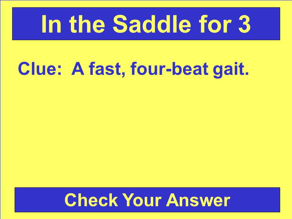 Clue: A fast, four-beat gait. Check Your Answer In the Saddle for 3