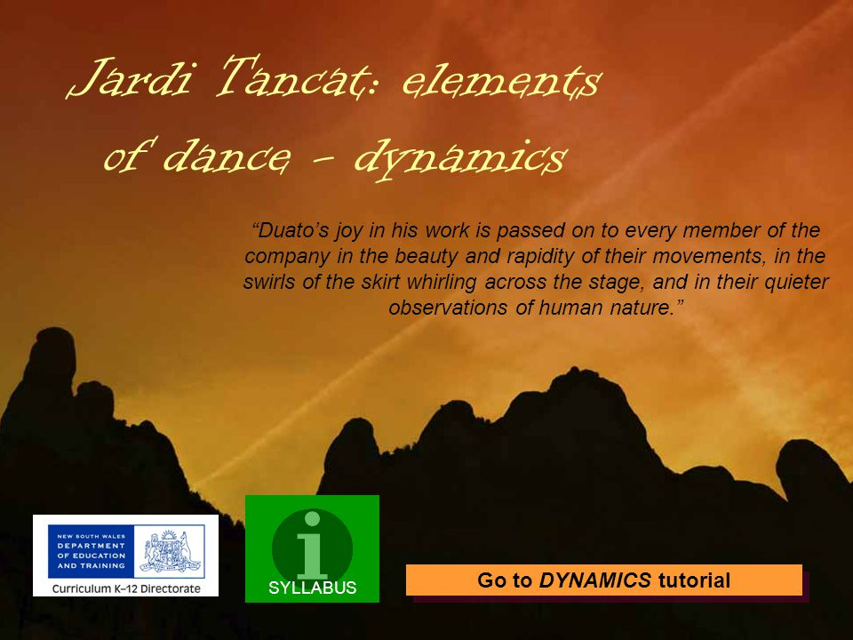 This tutorial is an investigation of the element of DYNAMICS* in Duatos Jardi Tancat.