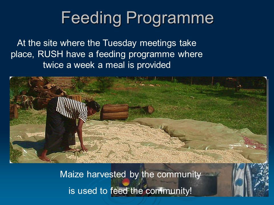 Feeding Programme At the site where the Tuesday meetings take place, RUSH have a feeding programme where twice a week a meal is provided Maize harvested by the community is used to feed the community!