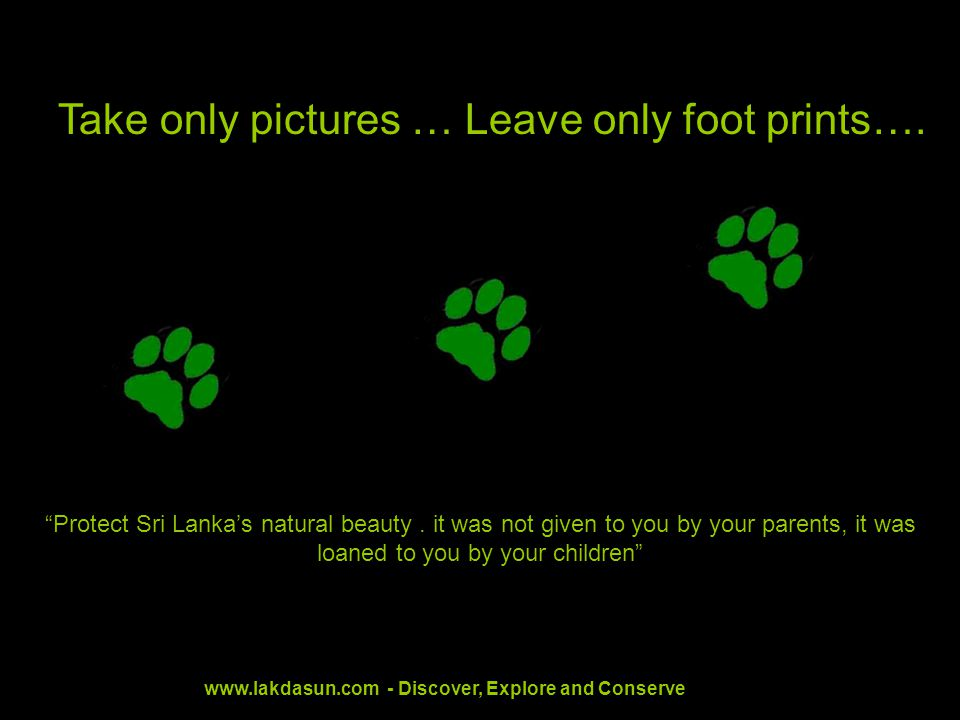 Take only pictures … Leave only foot prints…. Protect Sri Lankas natural beauty.
