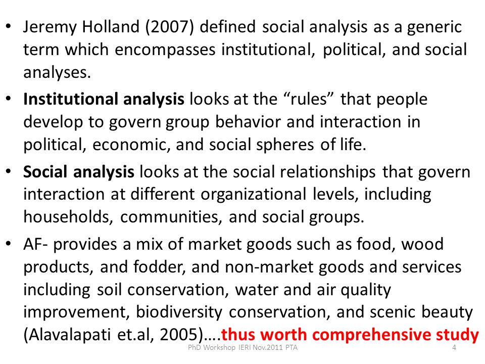 - Assessing the profitability of AF under different setting- Cost –Benefit analysis (Franzel, 2005) -Profitability analysis by applying Land Expectation Value (LEV)- Faustman methodology -Profitability analysis-using Policy Analysis Matrix (PAM) ( Monke and Pearson, 1989) - Profitability analysis-using portfolio approach- to see how AF can help reduce risk and stabilize farmers income -Production function approach – Cobb –Douglas production function ( ICRAF,2004) 2.