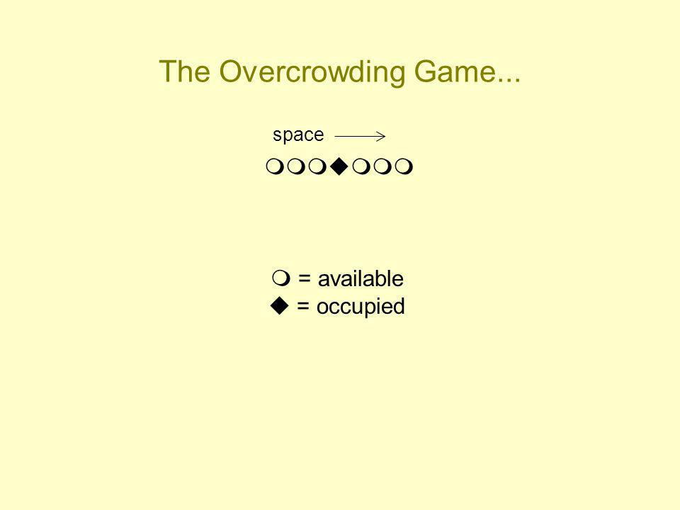 The Overcrowding Game... space = available = occupied