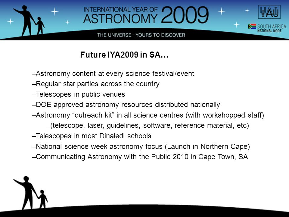 –Astronomy content at every science festival/event –Regular star parties across the country –Telescopes in public venues –DOE approved astronomy resources distributed nationally –Astronomy outreach kit in all science centres (with workshopped staff) –(telescope, laser, guidelines, software, reference material, etc) –Telescopes in most Dinaledi schools –National science week astronomy focus (Launch in Northern Cape) –Communicating Astronomy with the Public 2010 in Cape Town, SA Future IYA2009 in SA…