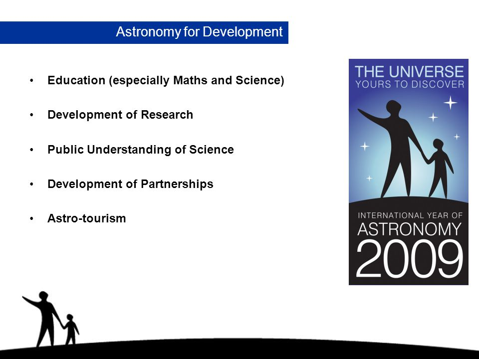 Astronomy for Development Education (especially Maths and Science) Development of Research Public Understanding of Science Development of Partnerships Astro-tourism
