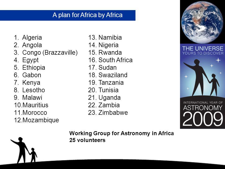 A plan for Africa by Africa 1.Algeria 2.Angola 3.Congo (Brazzaville) 4.Egypt 5.Ethiopia 6.Gabon 7.Kenya 8.Lesotho 9.Malawi 10.Mauritius 11.Morocco 12.Mozambique 13.