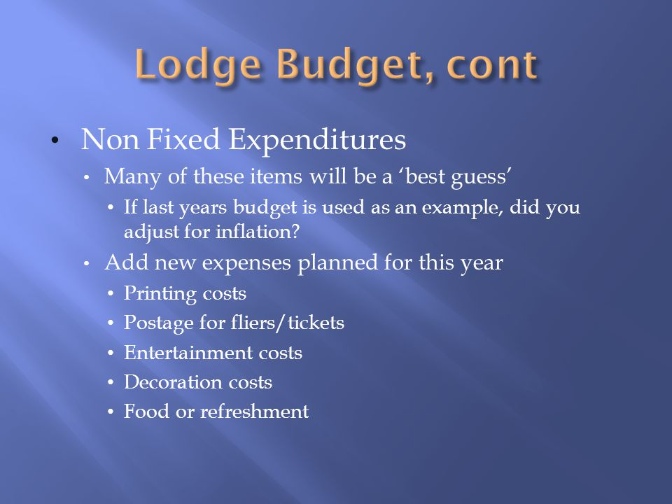 Non Fixed Expenditures Many of these items will be a best guess If last years budget is used as an example, did you adjust for inflation.