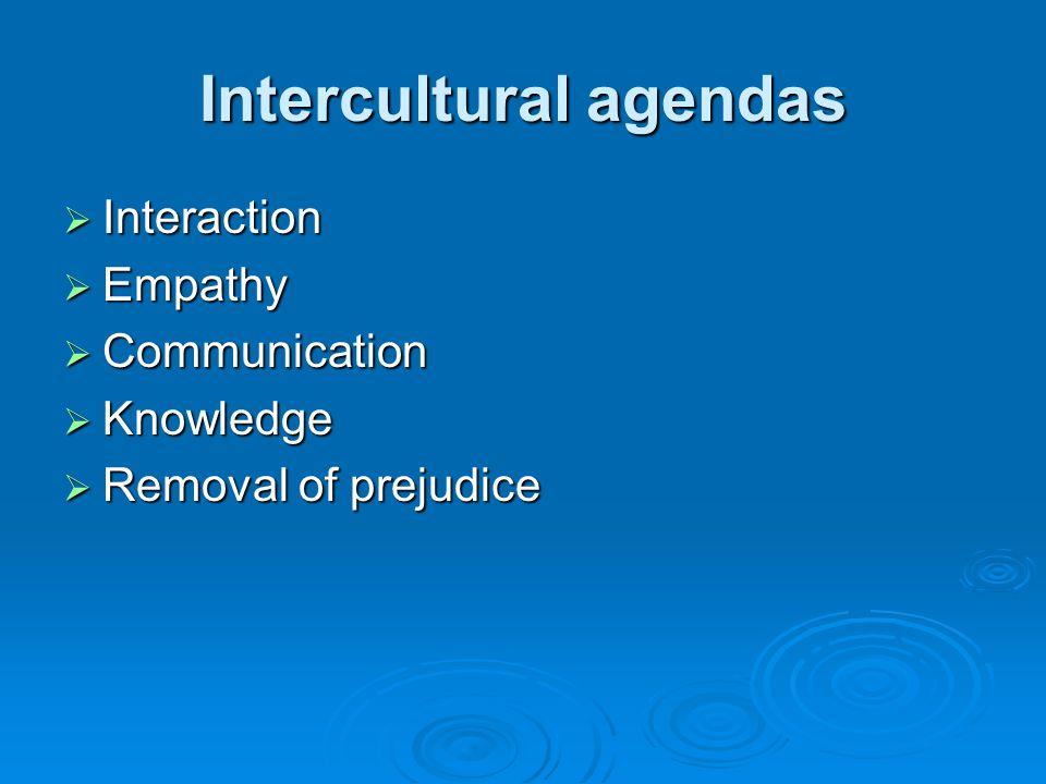 Intercultural agendas Interaction Interaction Empathy Empathy Communication Communication Knowledge Knowledge Removal of prejudice Removal of prejudic