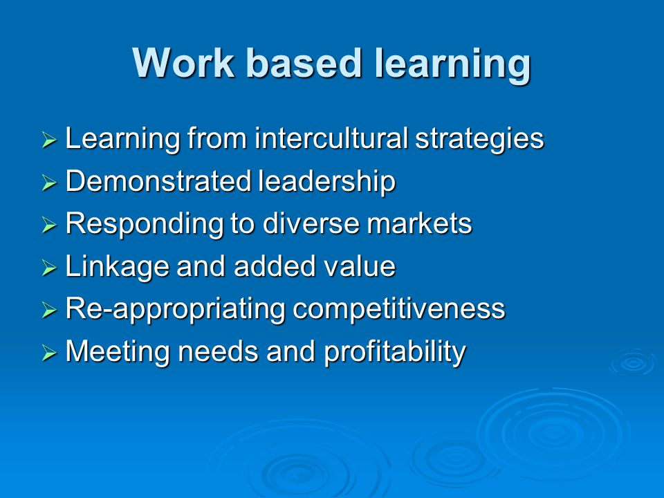 Work based learning Learning from intercultural strategies Learning from intercultural strategies Demonstrated leadership Demonstrated leadership Responding to diverse markets Responding to diverse markets Linkage and added value Linkage and added value Re-appropriating competitiveness Re-appropriating competitiveness Meeting needs and profitability Meeting needs and profitability