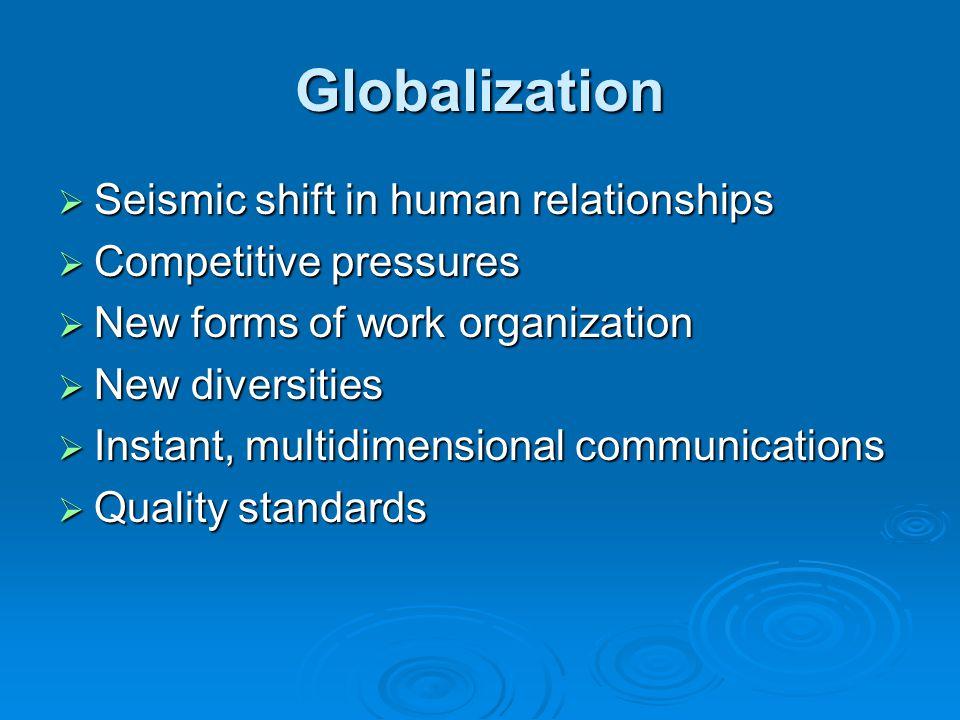 Globalization Seismic shift in human relationships Seismic shift in human relationships Competitive pressures Competitive pressures New forms of work