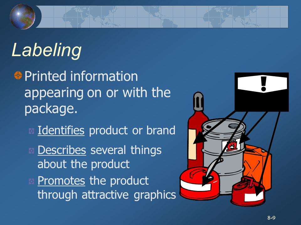 8-9 Labeling Printed information appearing on or with the package. Identifies product or brand Describes several things about the product Promotes the