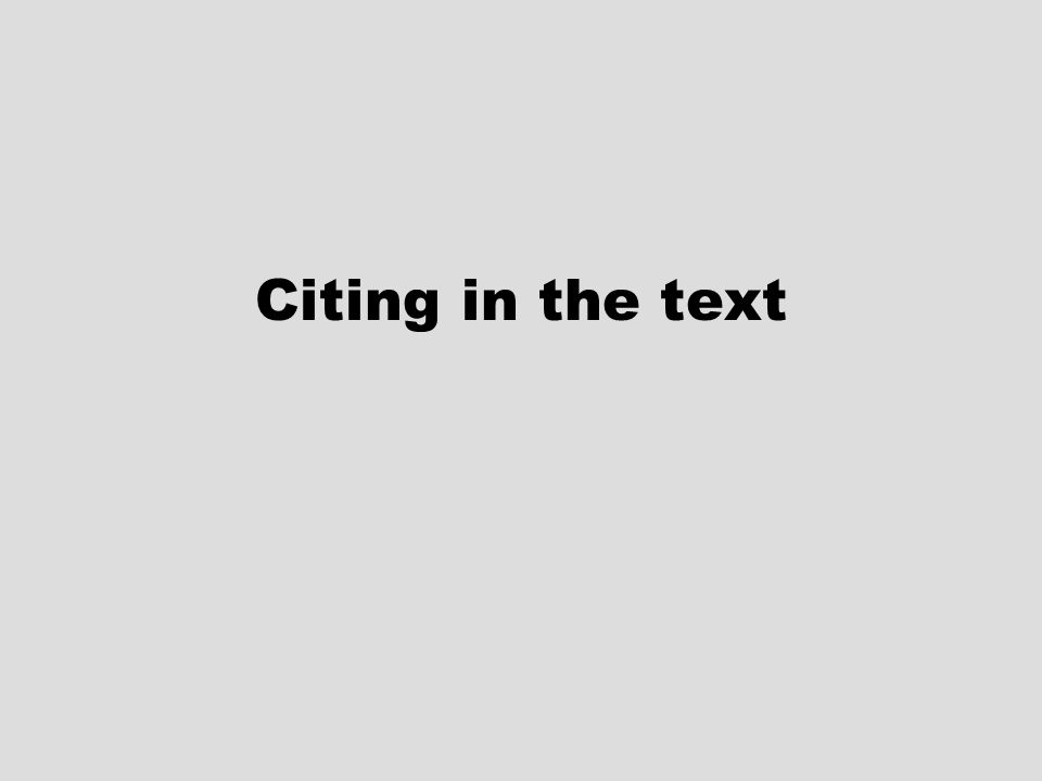 Citing in the text