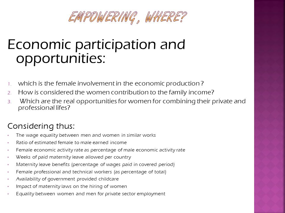 Economic participation and opportunities: 1.