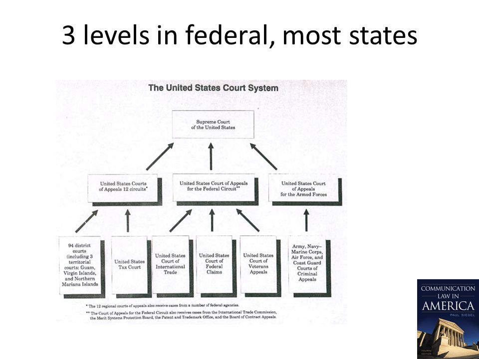 3 levels in federal, most states