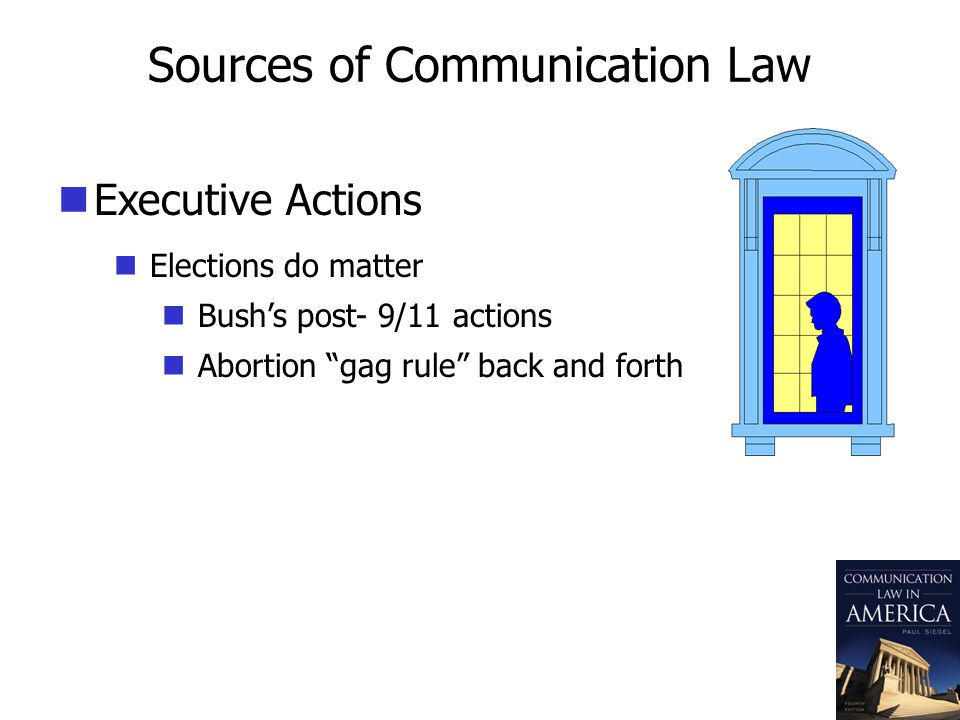 Sources of Communication Law Executive Actions Elections do matter Bushs post- 9/11 actions Abortion gag rule back and forth