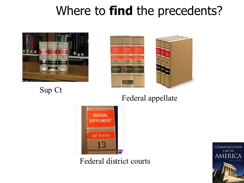 Where to find the precedents? Sup Ct Federal appellate Federal district courts