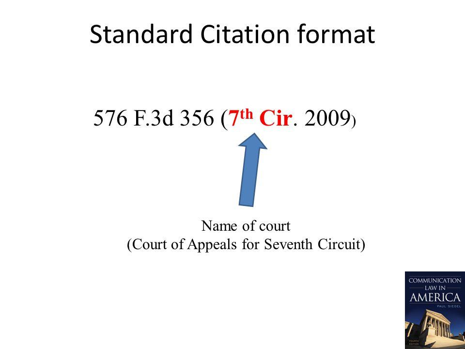Standard Citation format 576 F.3d 356 (7 th Cir.