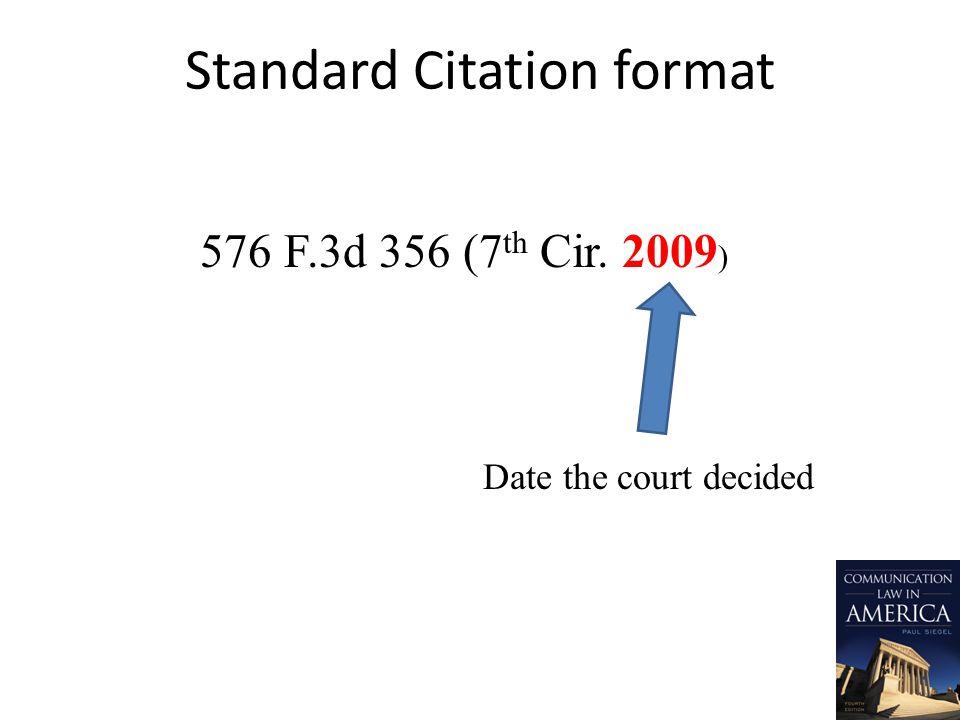 Standard Citation format 576 F.3d 356 (7 th Cir. 2009 ) Date the court decided