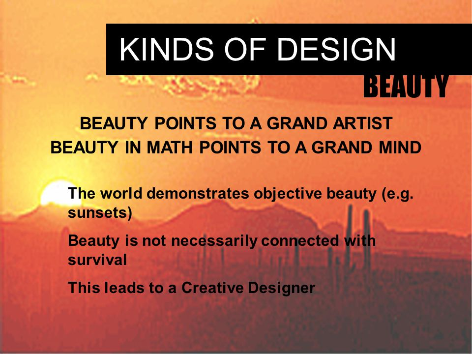 KINDS OF DESIGN BEAUTY BEAUTY POINTS TO A GRAND ARTIST BEAUTY IN MATH POINTS TO A GRAND MIND The world demonstrates objective beauty (e.g.