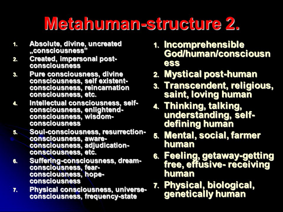 Metahuman-structure 2. 1. Absolute, divine, uncreated consciousness 2. Created, impersonal post- consciousness 3. Pure consciousness, divine conscious