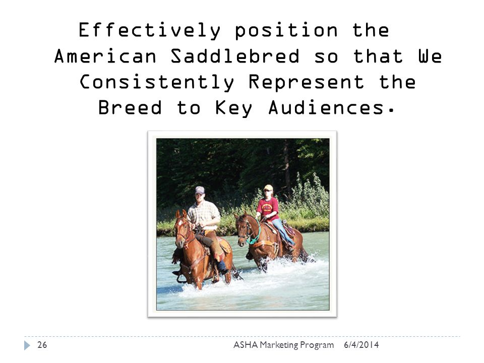 6/4/2014ASHA Marketing Program26 Effectively position the American Saddlebred so that We Consistently Represent the Breed to Key Audiences.