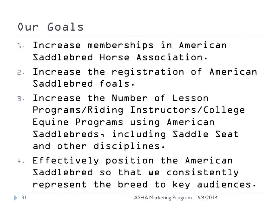 Our Goals 6/4/2014ASHA Marketing Program31 1.