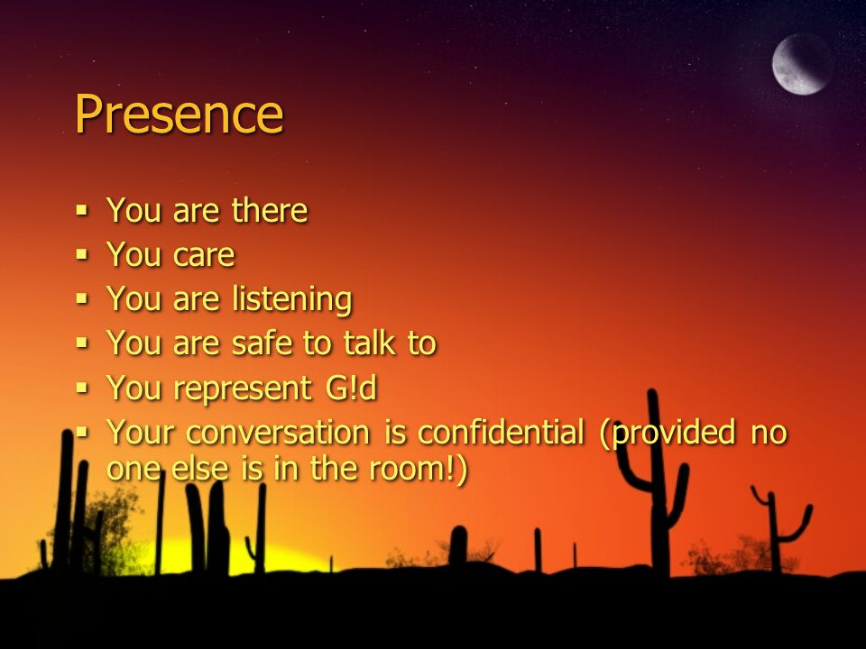 Presence You are there You care You are listening You are safe to talk to You represent G!d Your conversation is confidential (provided no one else is