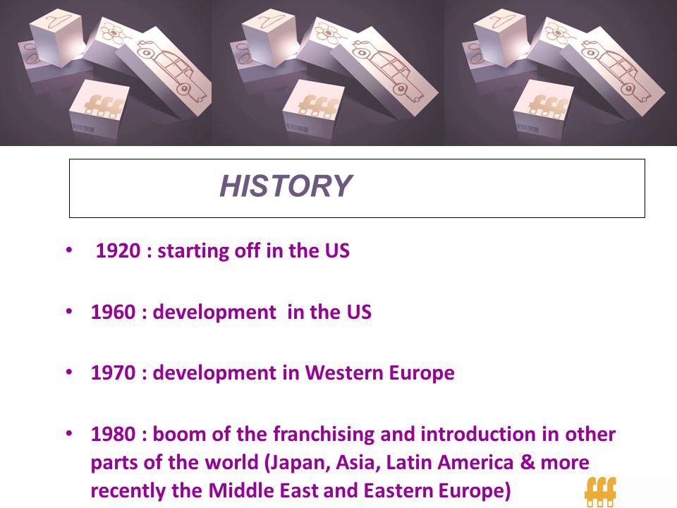1920 : starting off in the US 1960 : development in the US 1970 : development in Western Europe 1980 : boom of the franchising and introduction in oth