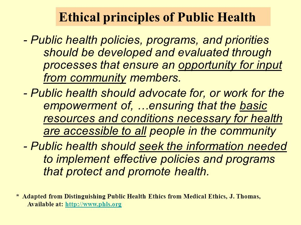 - Public health policies, programs, and priorities should be developed and evaluated through processes that ensure an opportunity for input from community members.