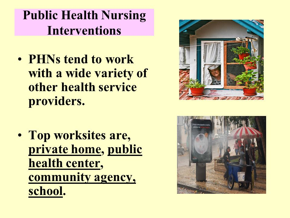 Public Health Nursing Interventions PHNs tend to work with a wide variety of other health service providers.