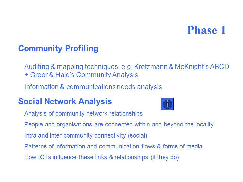 Phase 1 Community Profiling Auditing & mapping techniques, e.g.